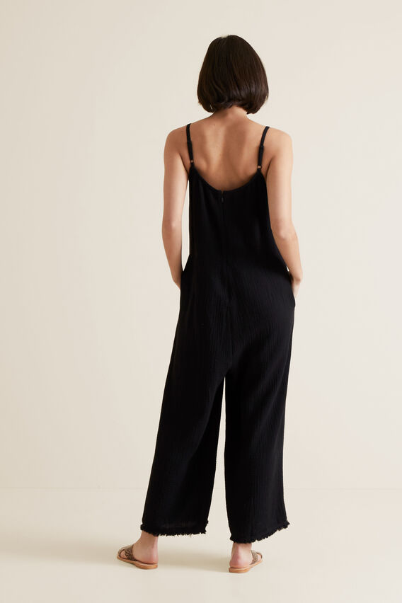 Cheesecloth Jumpsuit  BLACK  hi-res