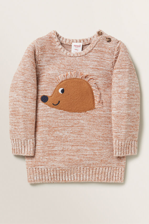 Hedgehog Knitted Sweater  MOCHA  hi-res