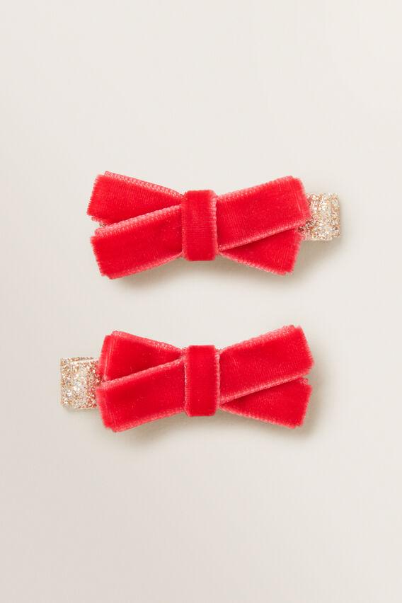 Velvet Bow Duck Clip  RED  hi-res