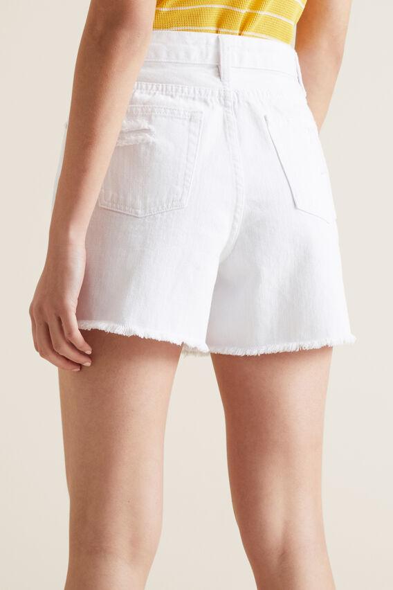 Distressed Denim Short  WHITE  hi-res