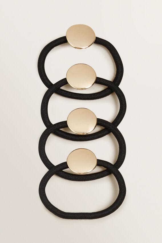 Metal Round Scrunchie Pack  BLACK/GOLD  hi-res
