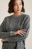 Animal Hi Low Sweater   CHARCOAL OCELOT  hi-res