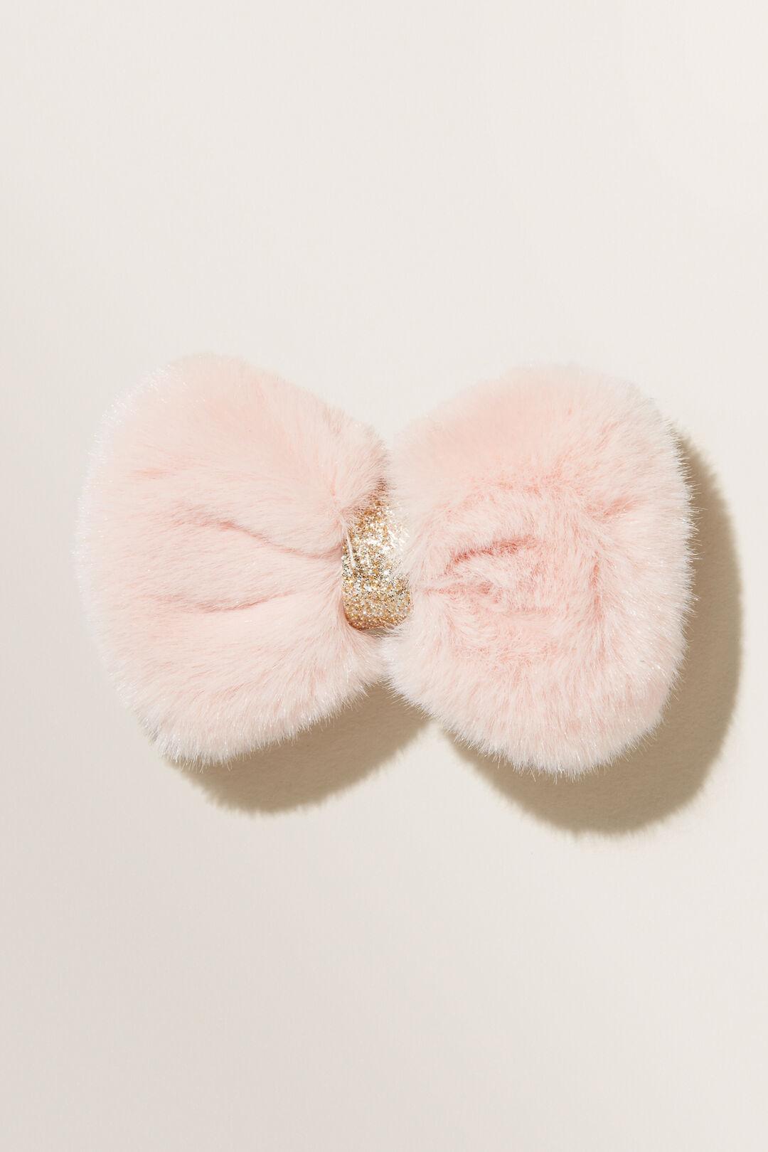Faux Fur Bow Clip  DUSTY ROSE  hi-res