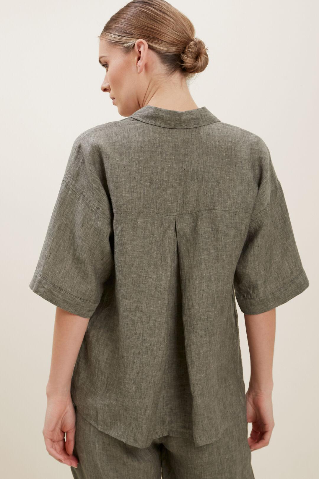 Short Sleeve Linen Shirt  OLIVE KHAKI  hi-res