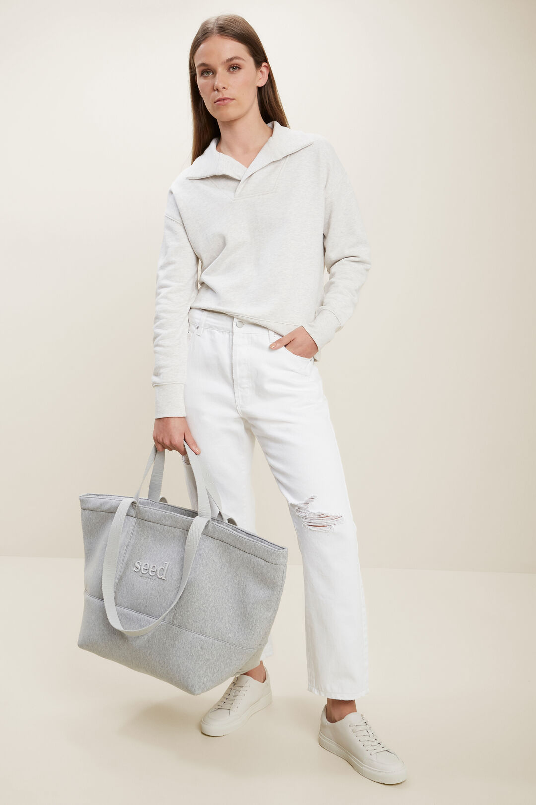 Collared Marle Sweat  BUTTER MARLE  hi-res