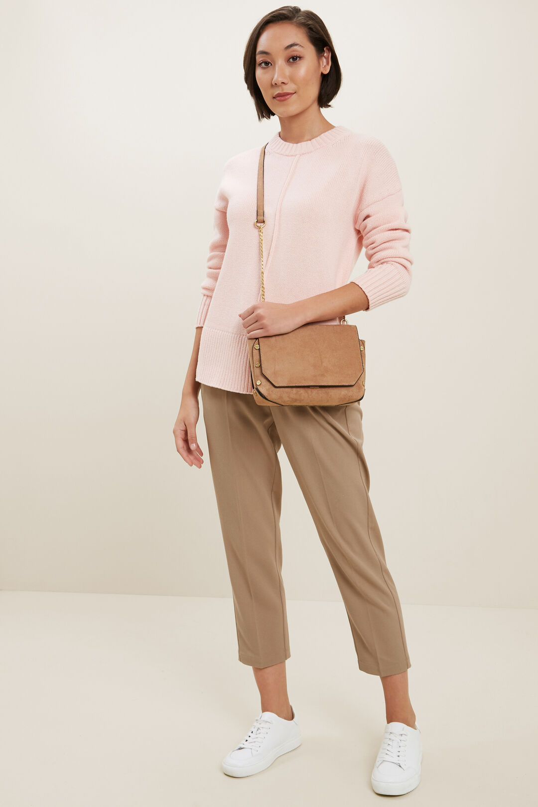 Relaxed Seam Front Sweater   ASH PINK  hi-res