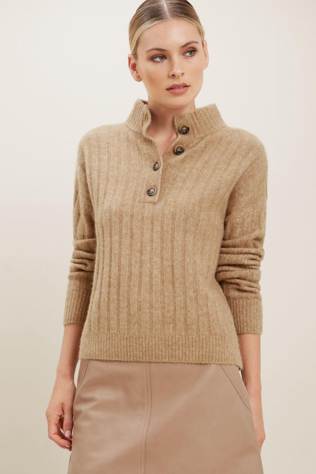 Rib Collared Sweater   HONEY DEW MARLE  hi-res