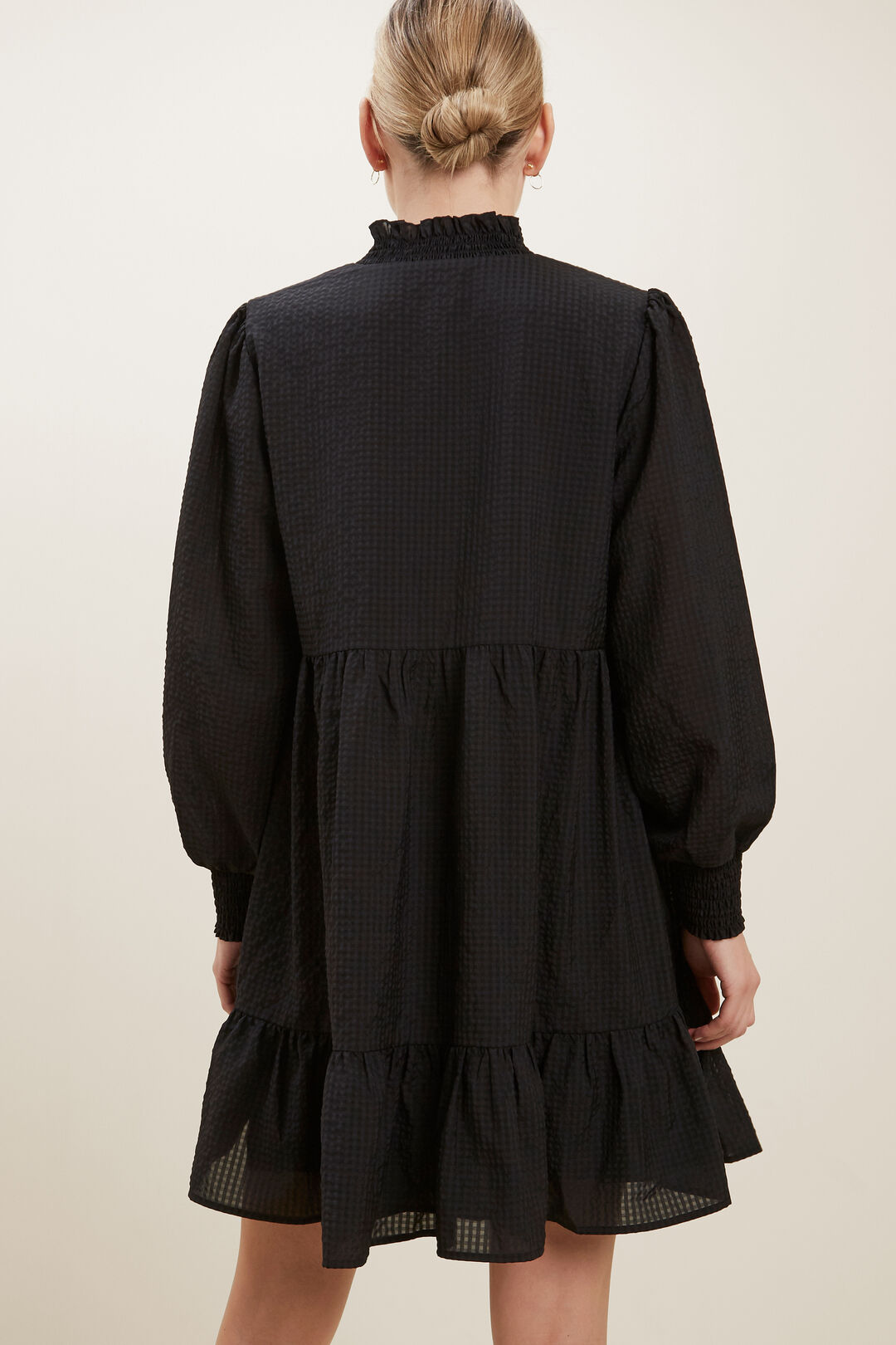 Gathered Mini Dress   BLACK  hi-res