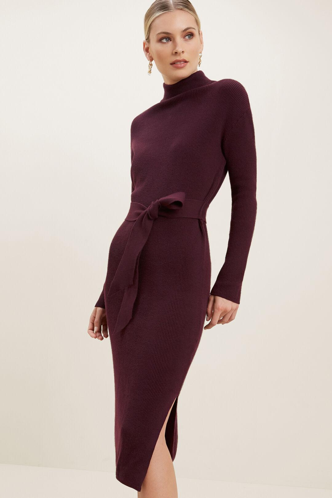 Knitted Midi Dress  RUBY PLUM  hi-res