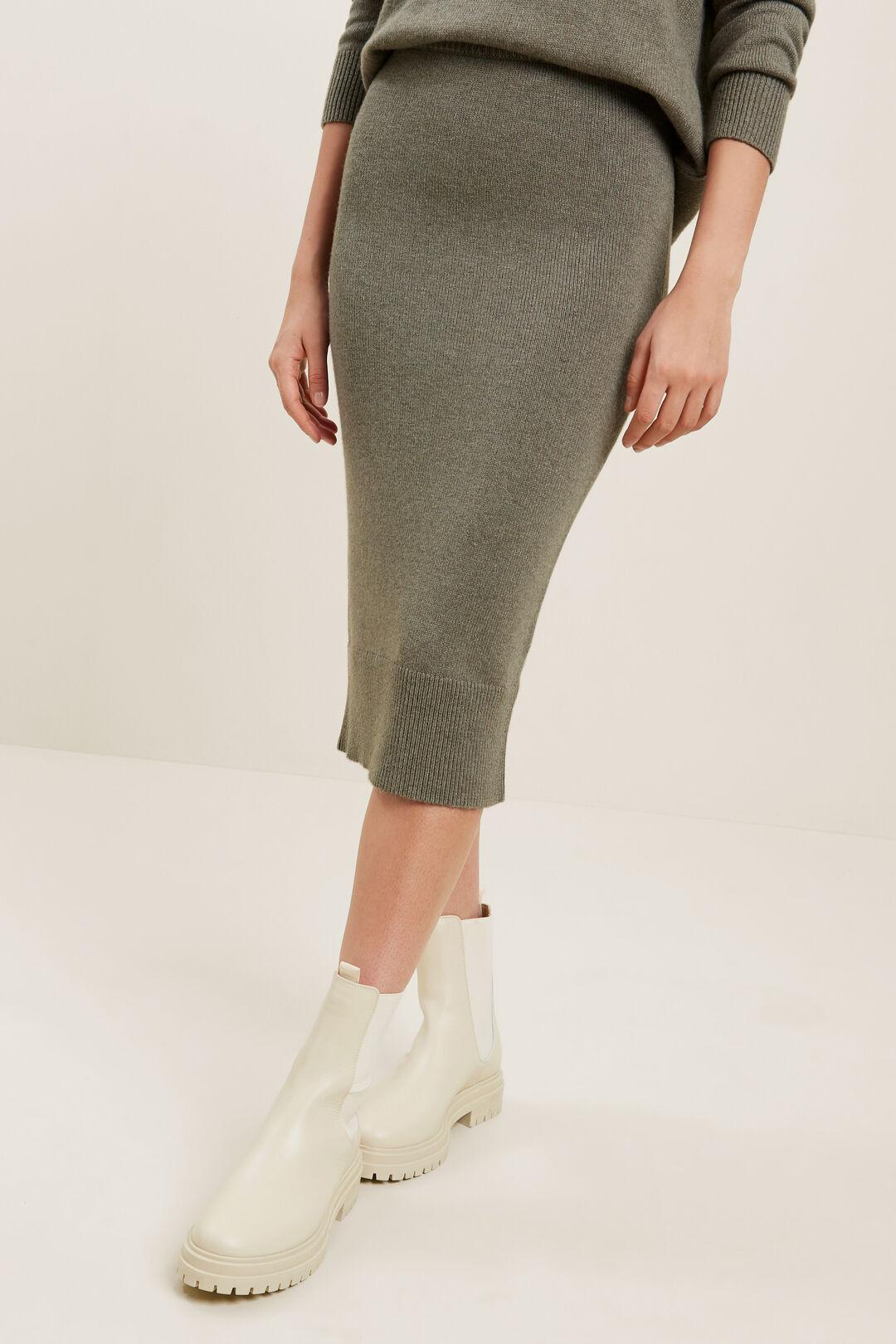Marle Knit Skirt  OLIVE KHAKI MARLE  hi-res