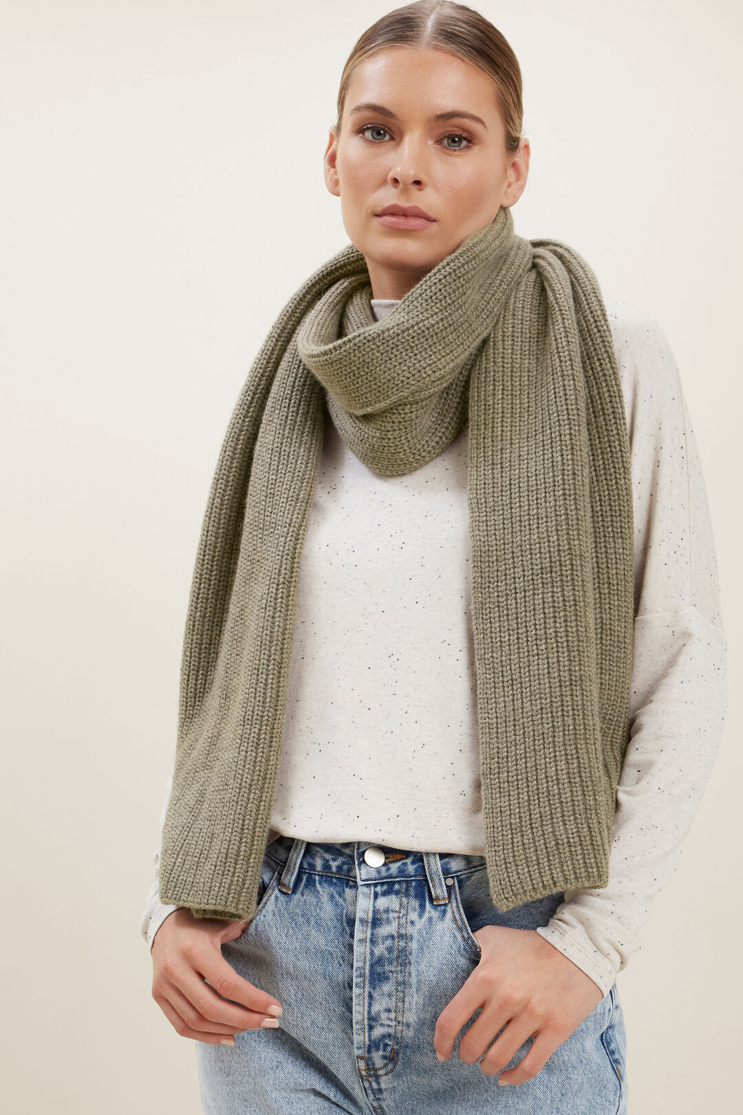 Wool Rib Scarf  OLIVE KHAKI MARLE  hi-res