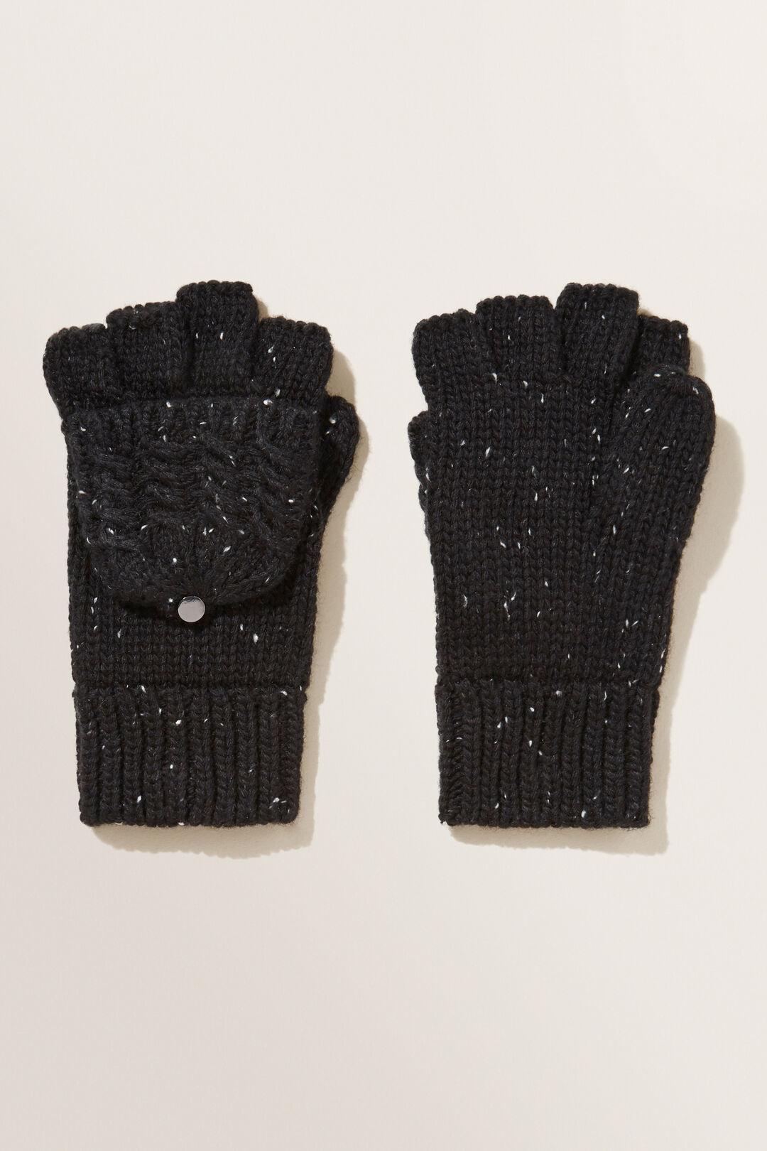 Fleck Knit Fingerless Gloves  BLACK  hi-res