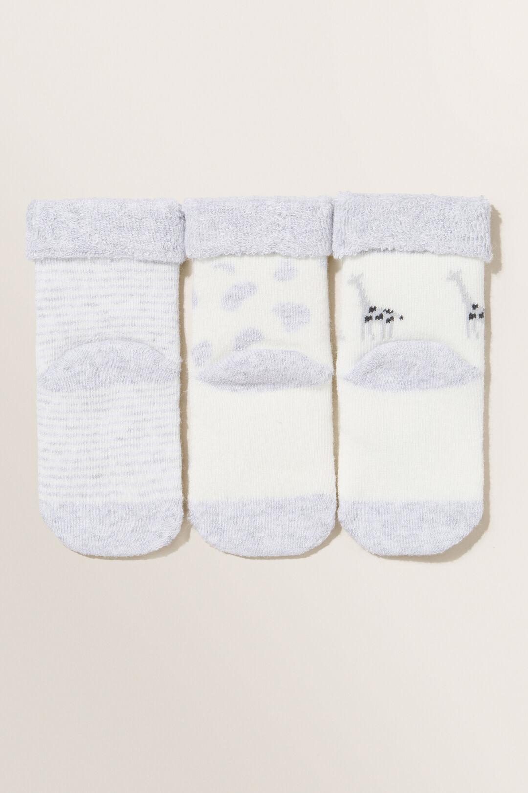 Giraffe Socks 3pk  GREY MARLE  hi-res
