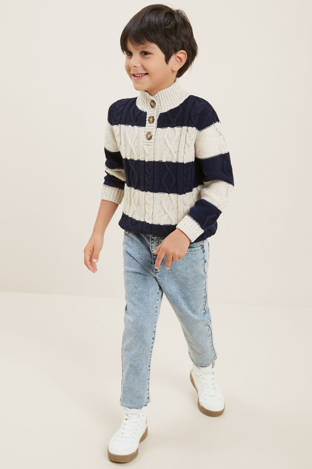 Button Knitted Sweater  MIDNIGHT BLUE  hi-res