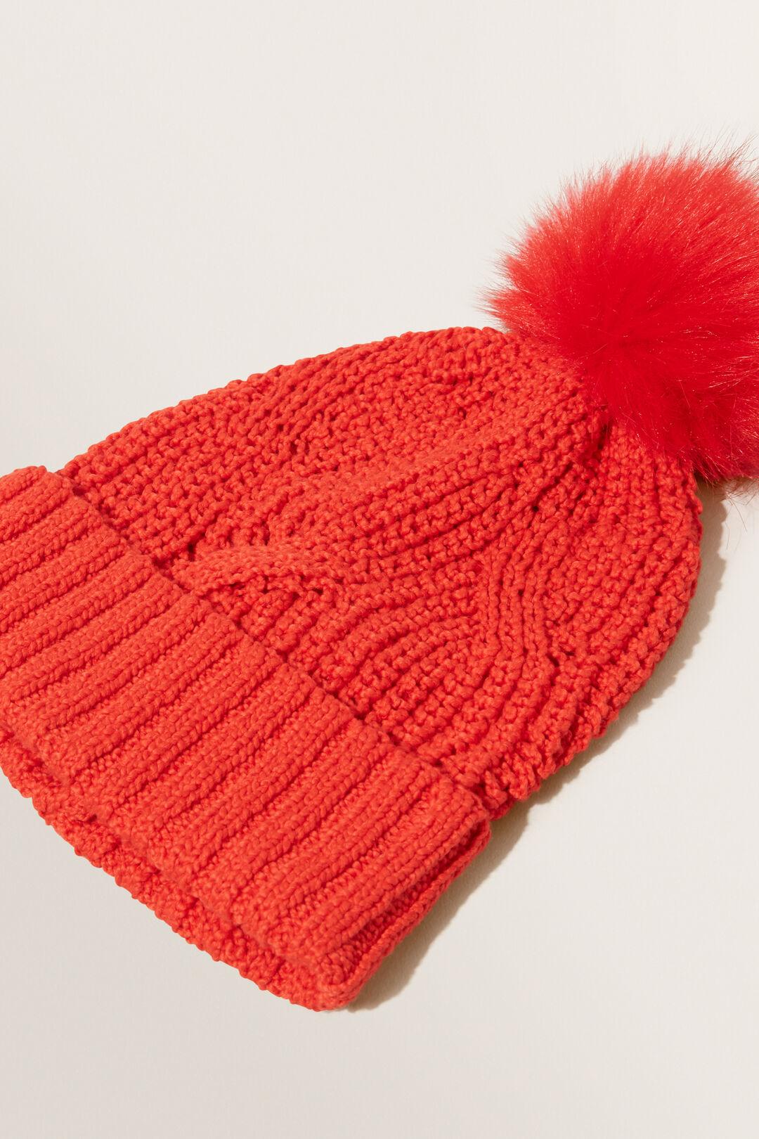 Zig Zag Knit Beanie  SCARLET RED  hi-res