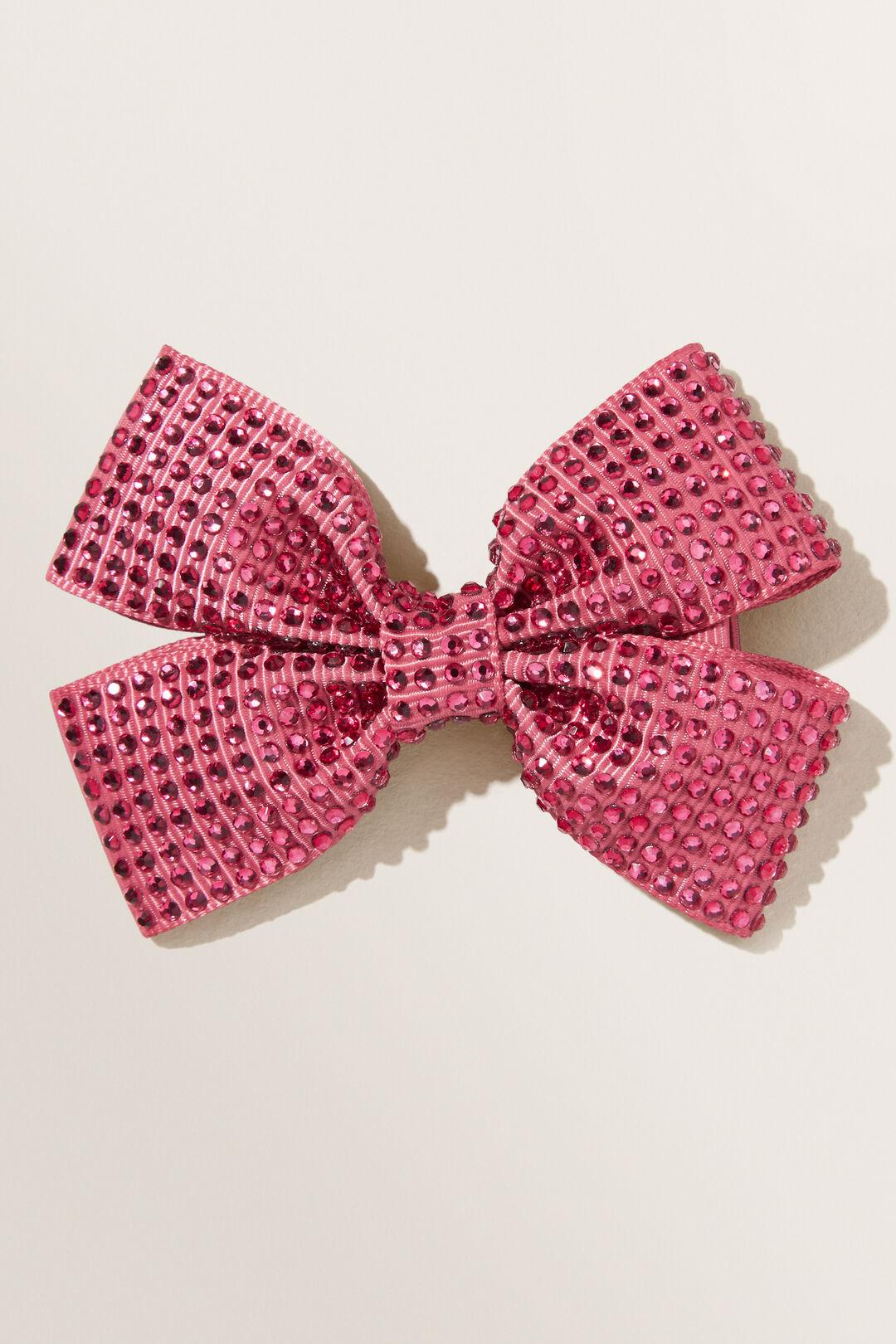 Diamante Bow Clip  BERRY  hi-res
