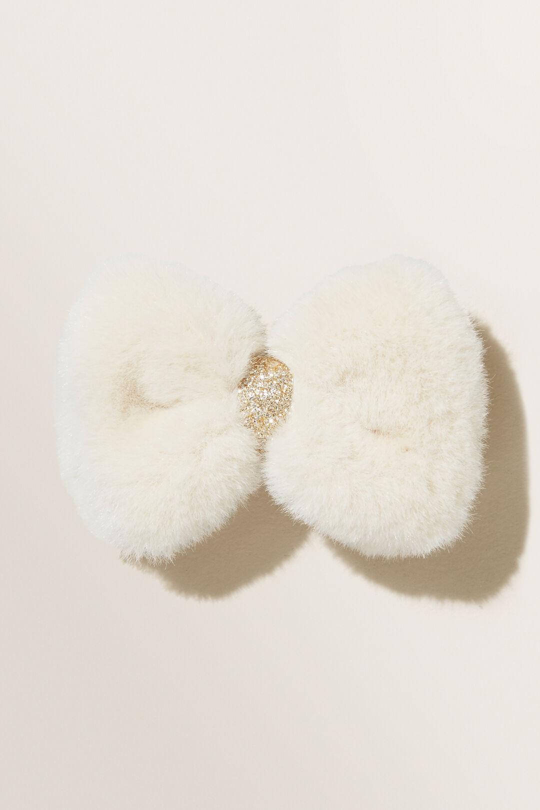 Faux Fur Bow Clip  OAT  hi-res