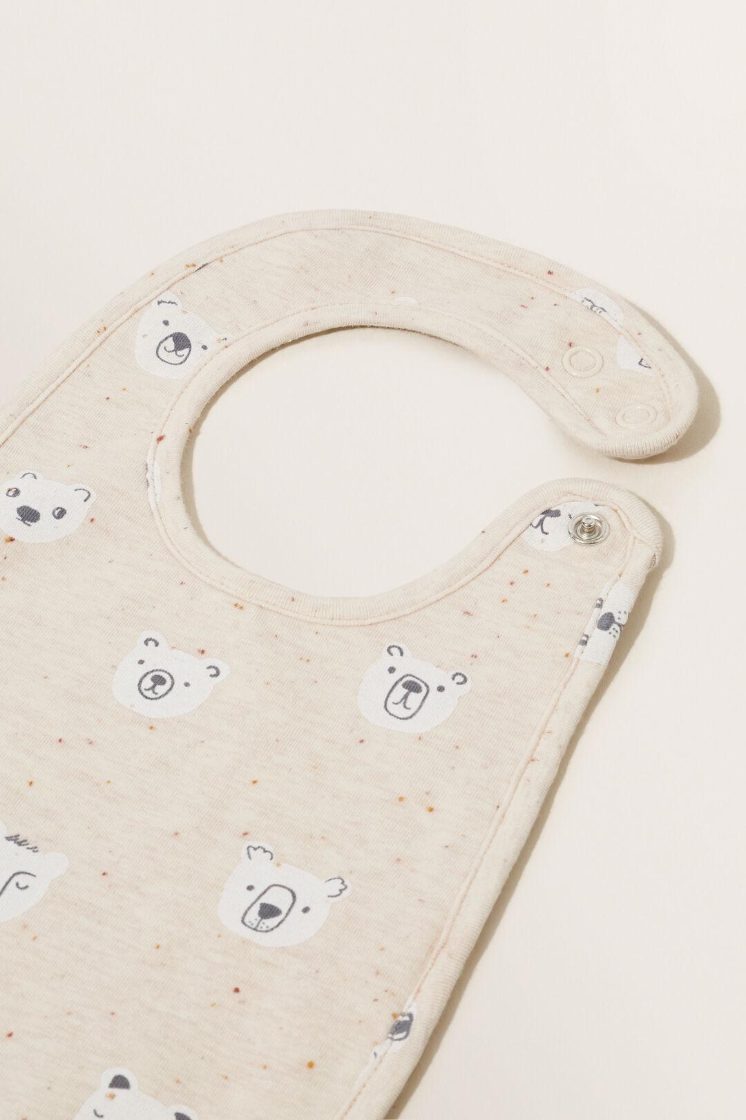 Bear Print Bib  OAT SPECKLE  hi-res