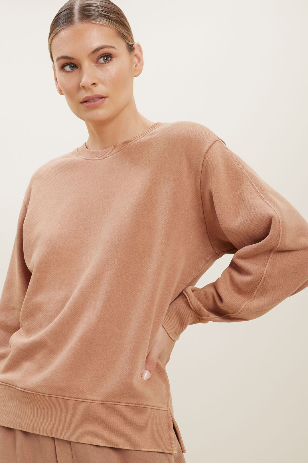 Vintage Wash Sweater  BURNT SIENNA ACID WA  hi-res