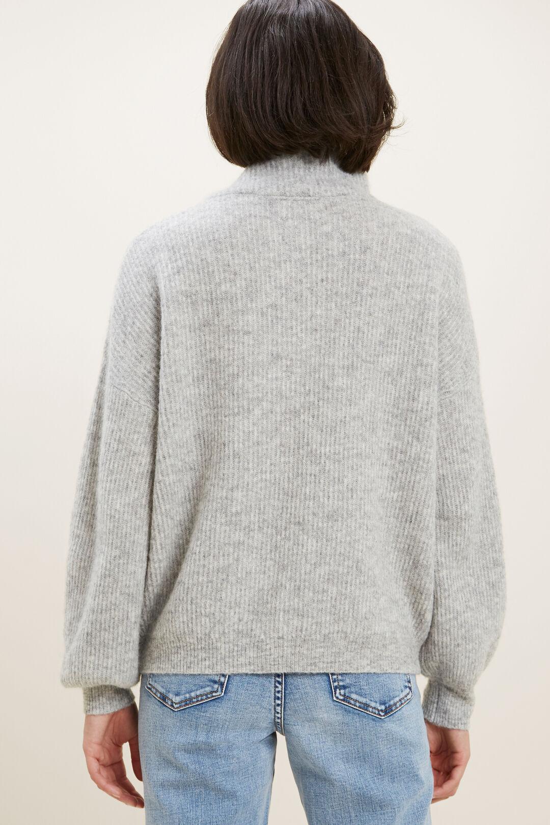 Button Down Sweater   DIM GREY MARLE  hi-res