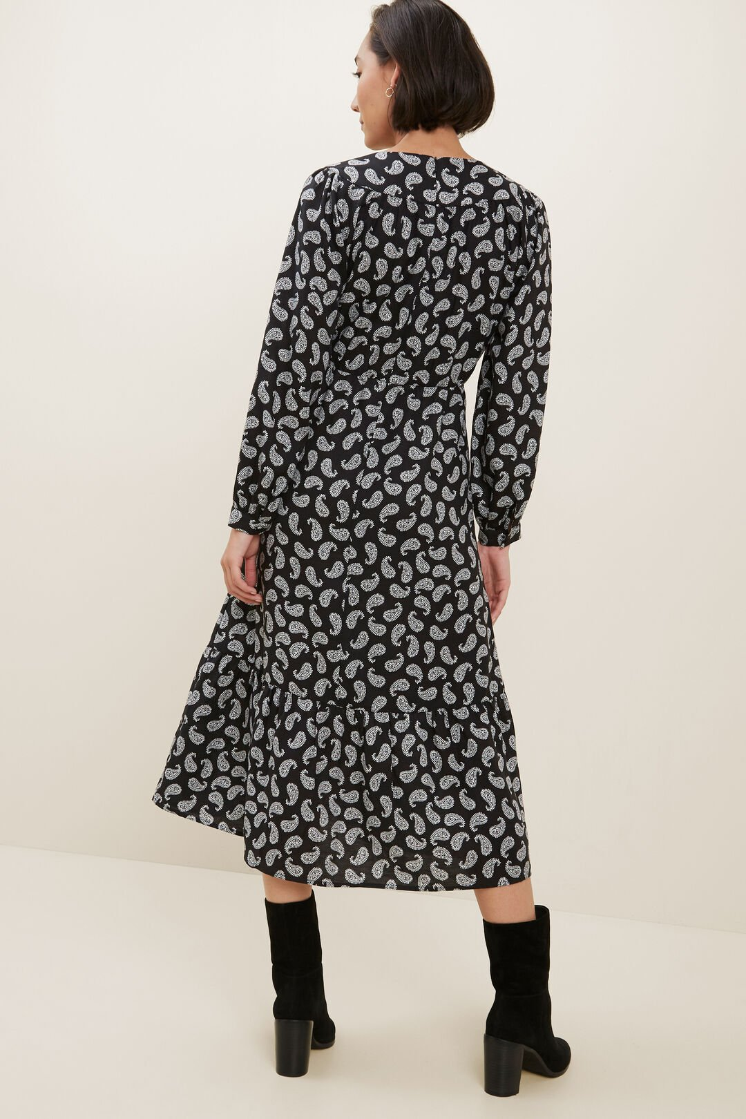 Paisley Midi Dress   MONO PAISLEY  hi-res