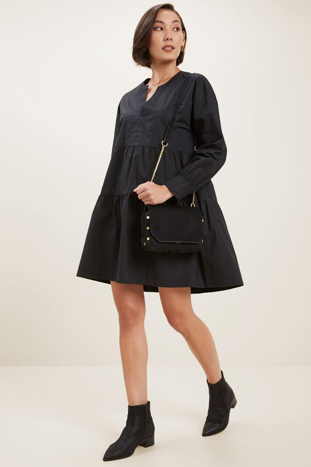 Poplin Babydoll Dress   BLACK  hi-res