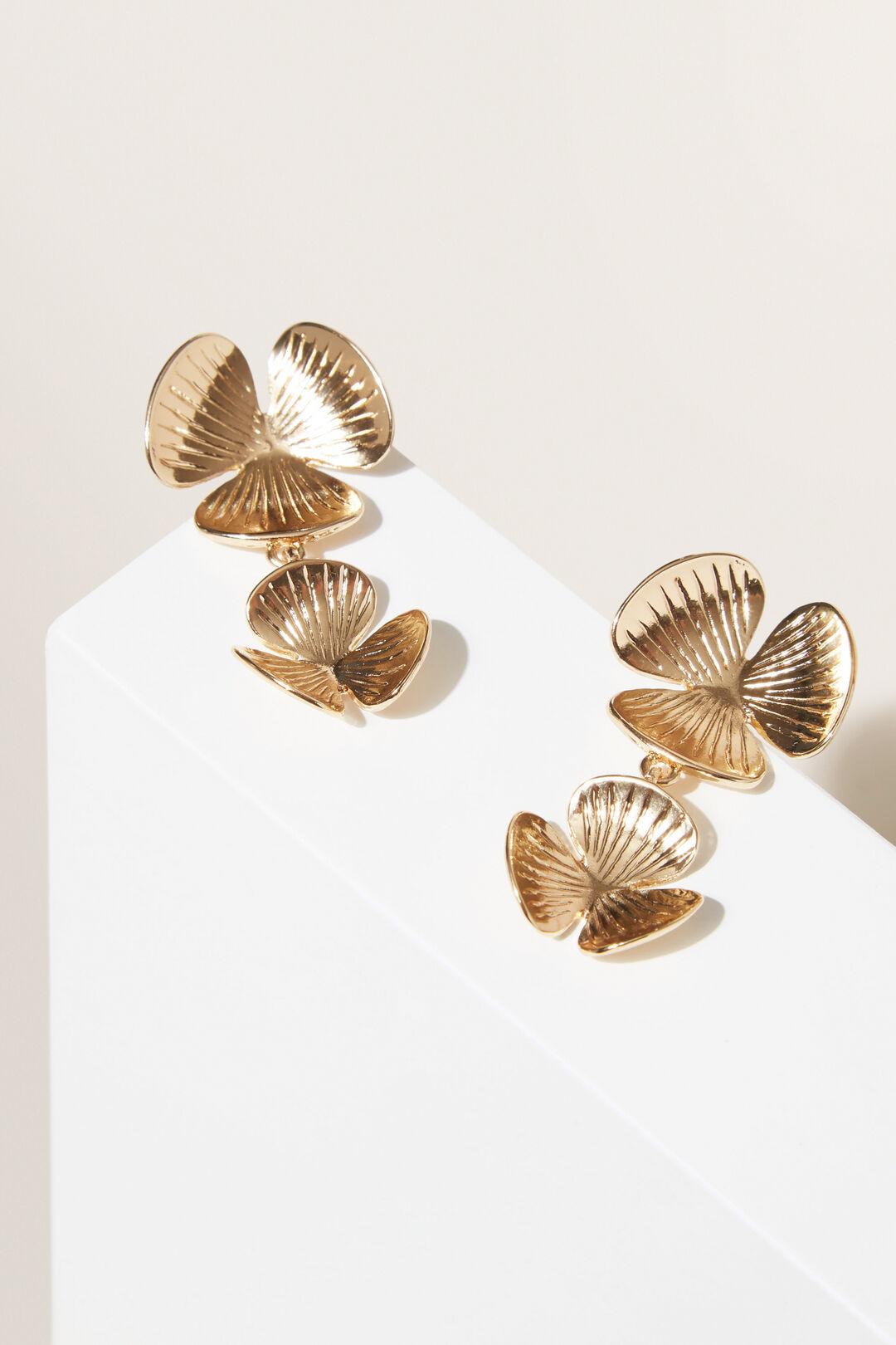 Flower Drop Earrings  GOLD  hi-res