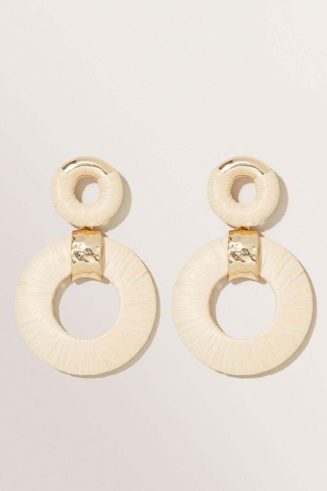 Double Circle Raffia Earring  BISCOTTI  hi-res