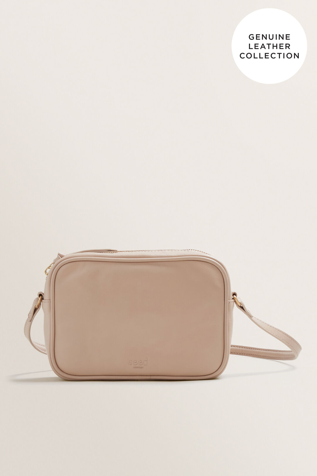Leather Crossbody Sling  NUDE  hi-res