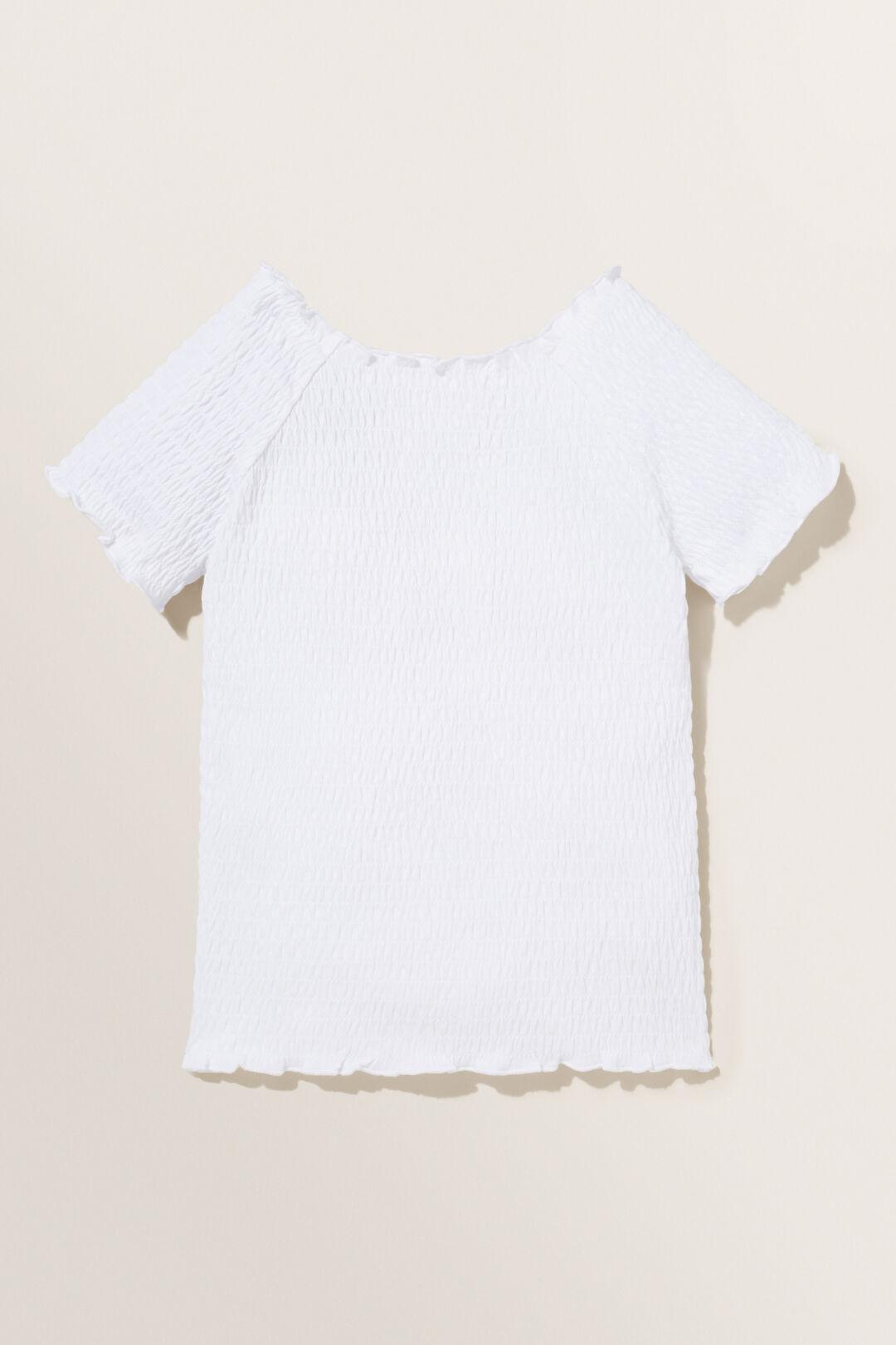 Shirred Top  WHITE  hi-res
