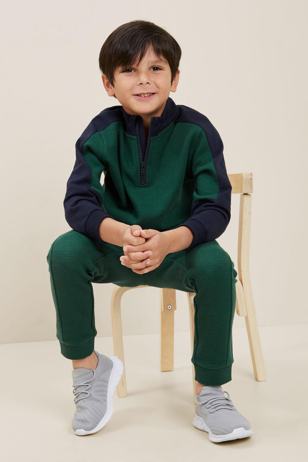 PanelledZip Sweater  BOTTLE GREEN  hi-res