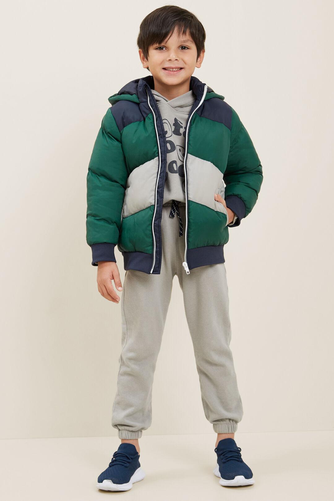 Spliced Puffer Jacket  BOTTLE GREEN  hi-res