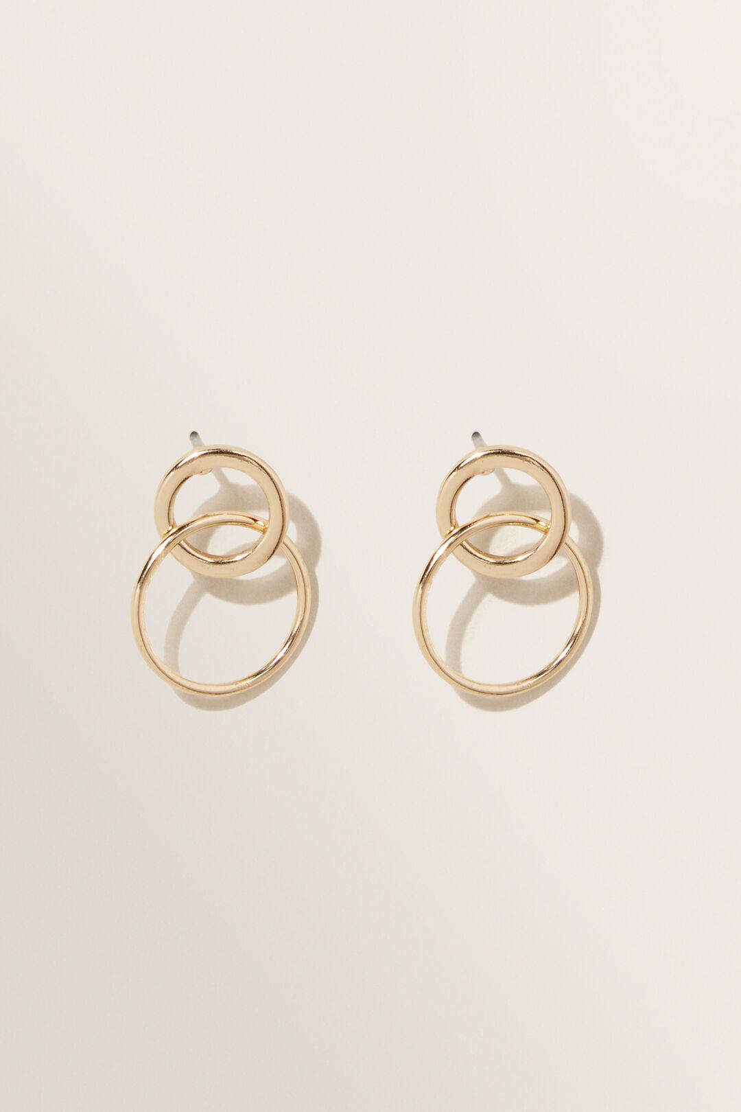 Linked Ring Earrings  GOLD  hi-res