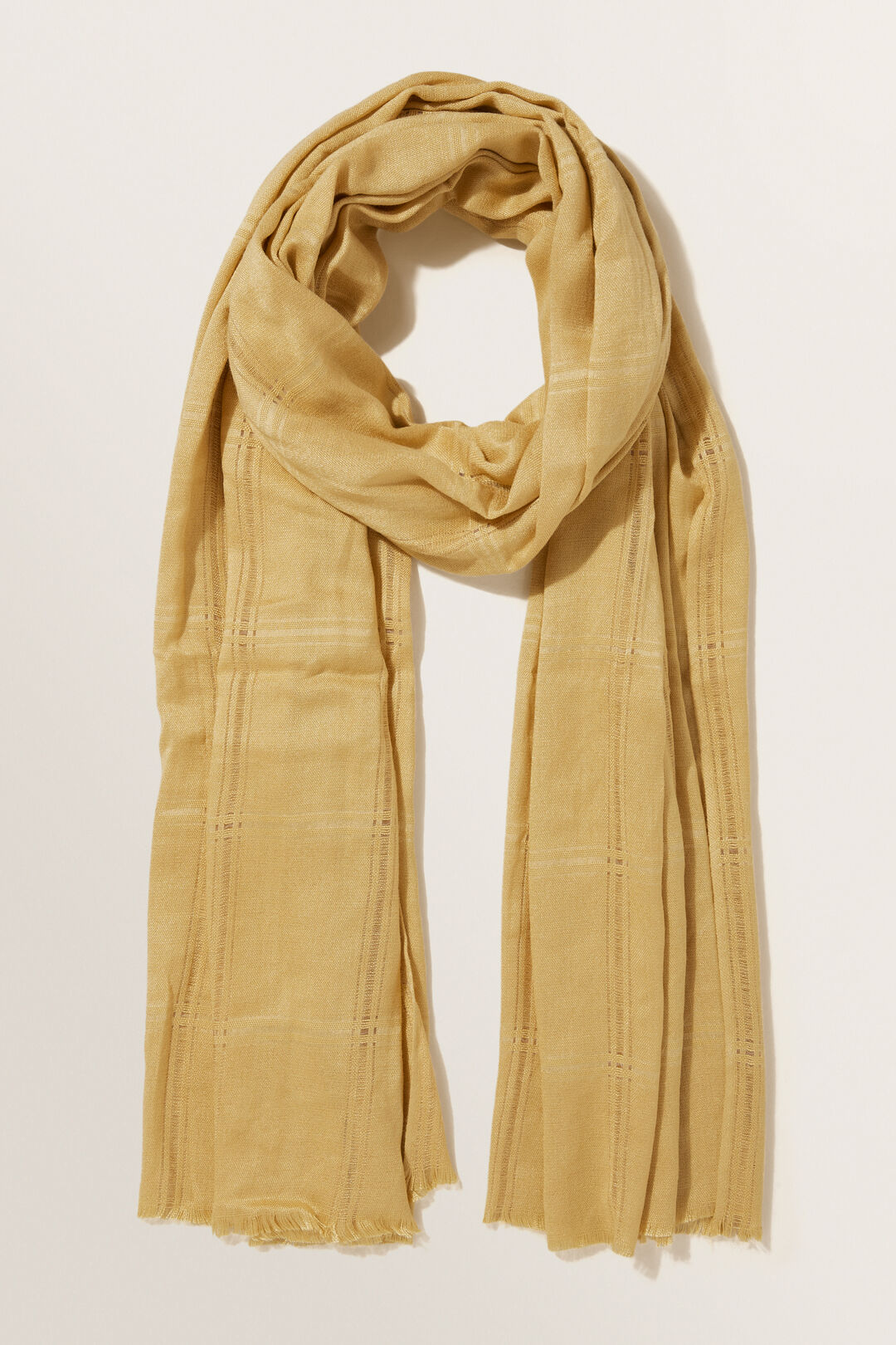Textured Wool Blend Scarf  FAWN  hi-res