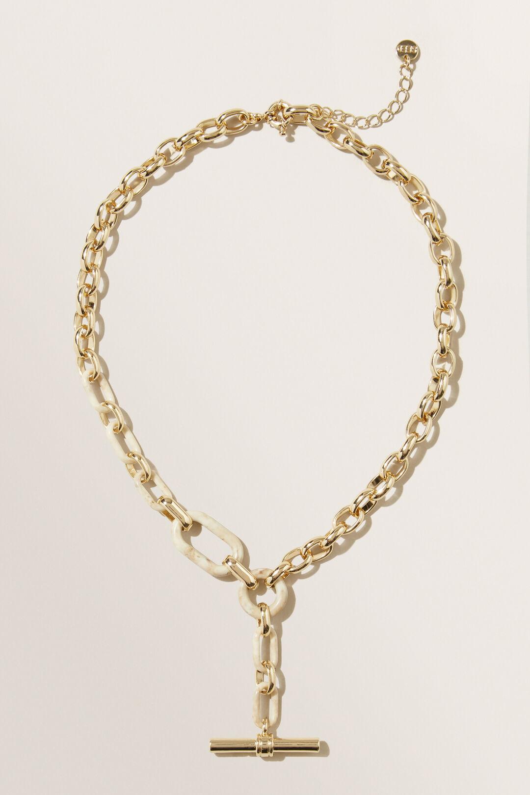 Resin T Bar Necklace  GOLD  hi-res