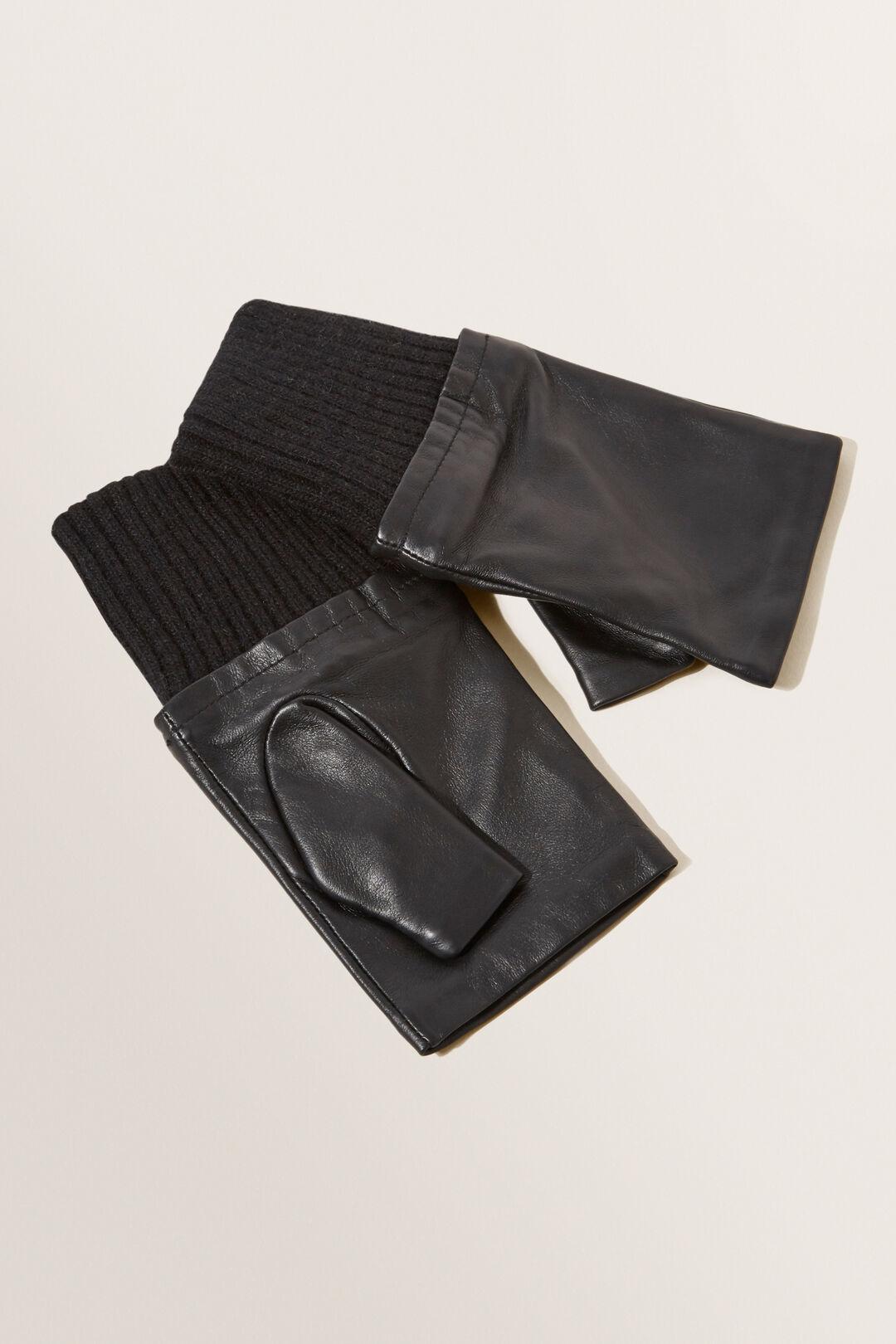 Leather Fingerless Gloves  BLACK  hi-res