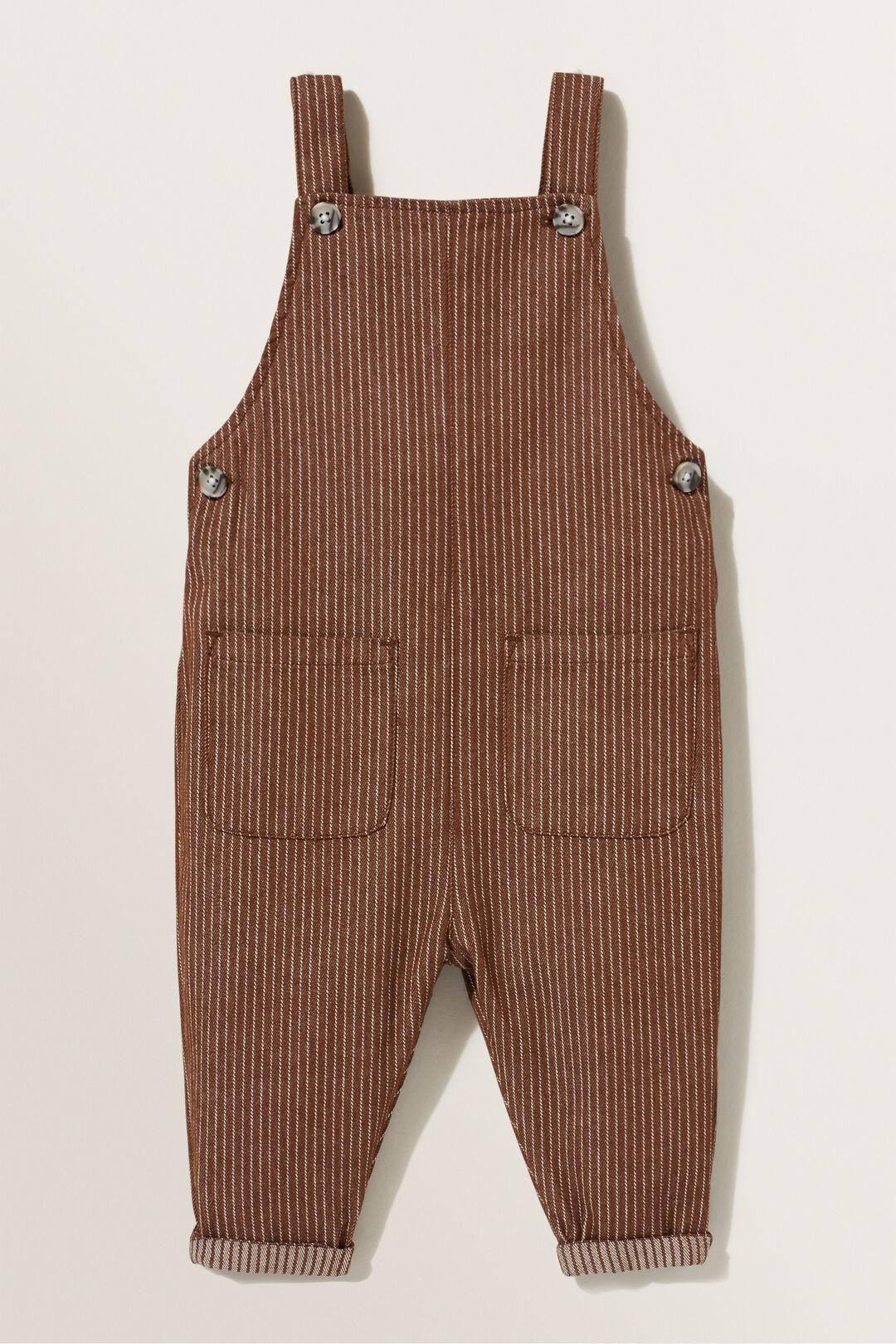 Stripe Denim Overalls  CHOCOLATE  hi-res