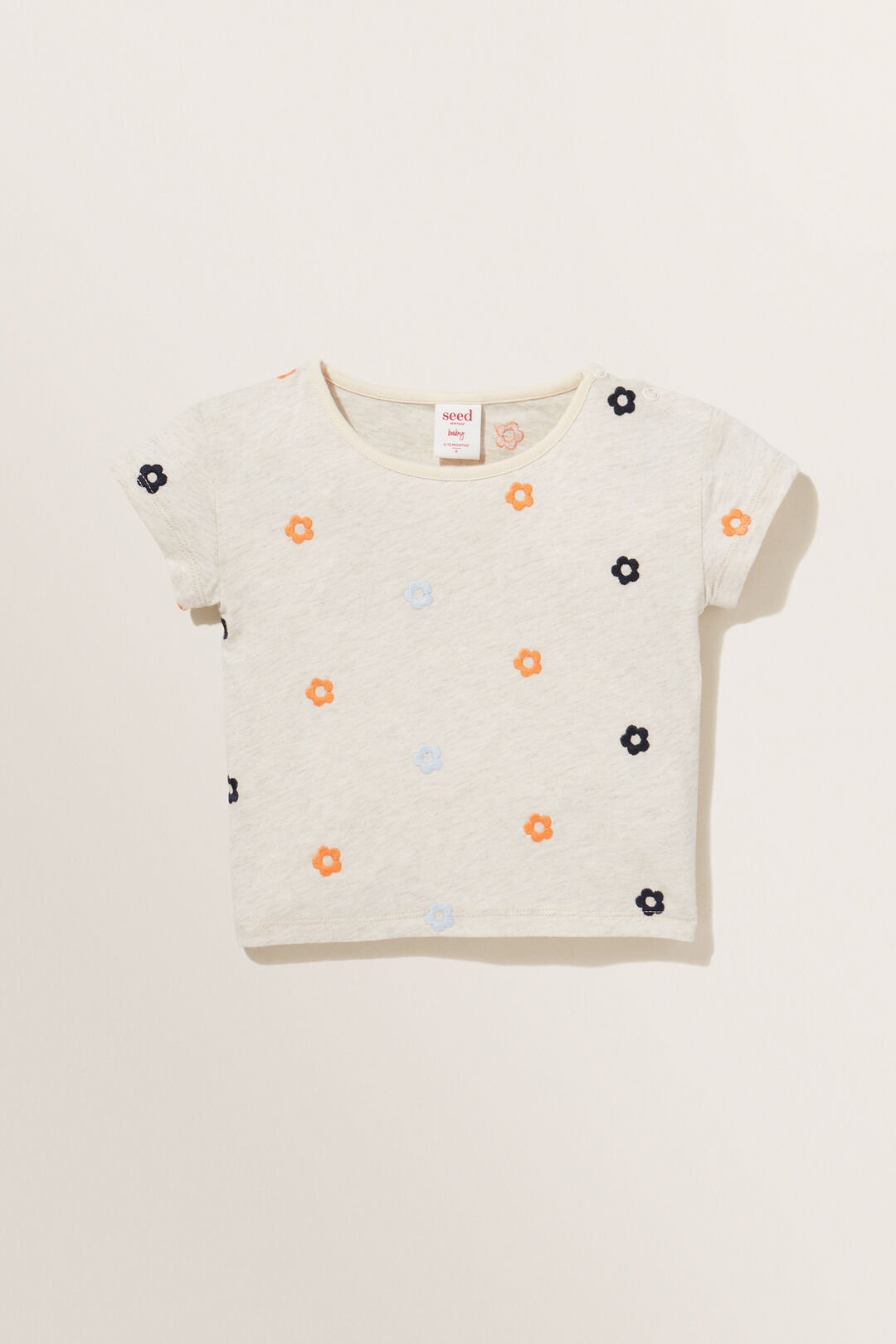 Embroidered Tee  OAT MARLE  hi-res