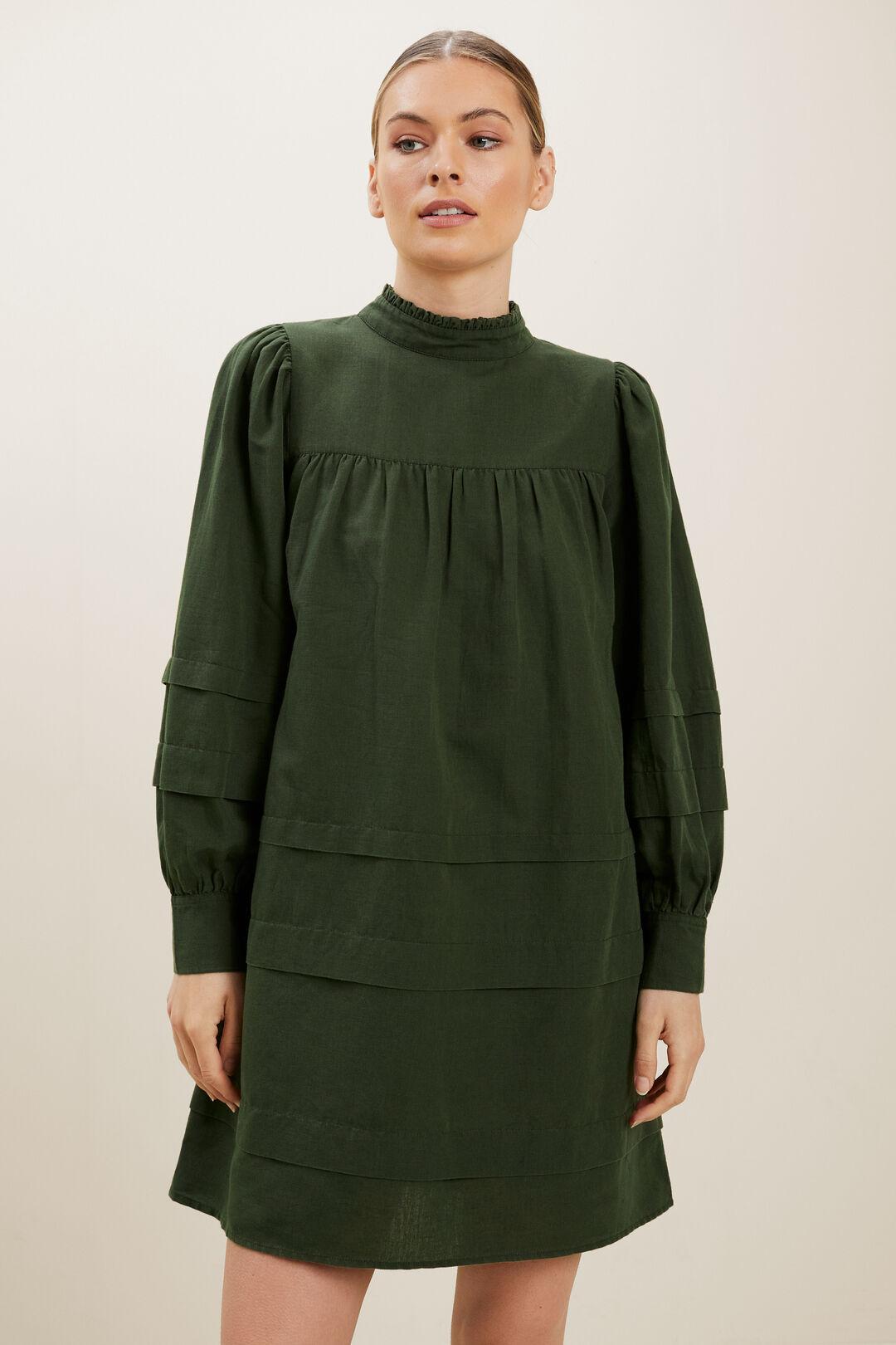 Linen Tiered Mini Dress  BASIL  hi-res