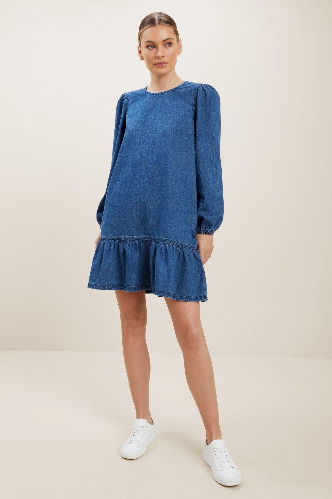 Denim Mini Dress  MID INDIGO DENIM  hi-res