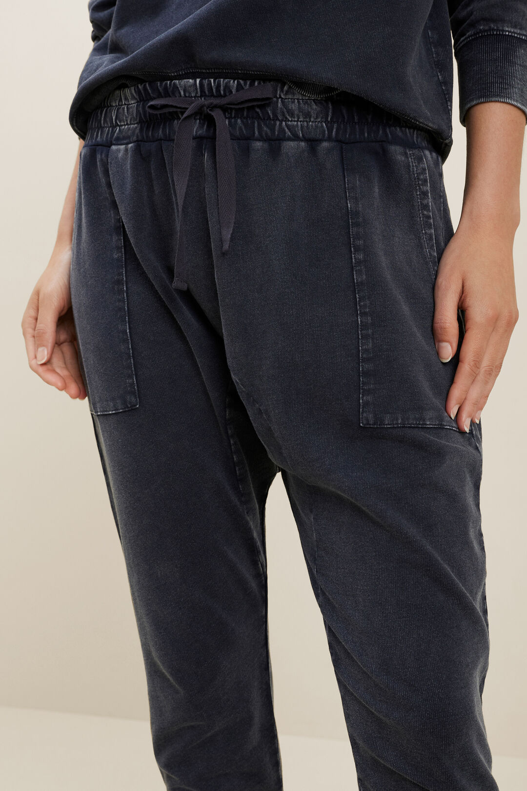 Washed Terry Trackpants  DEEP NAVY  hi-res