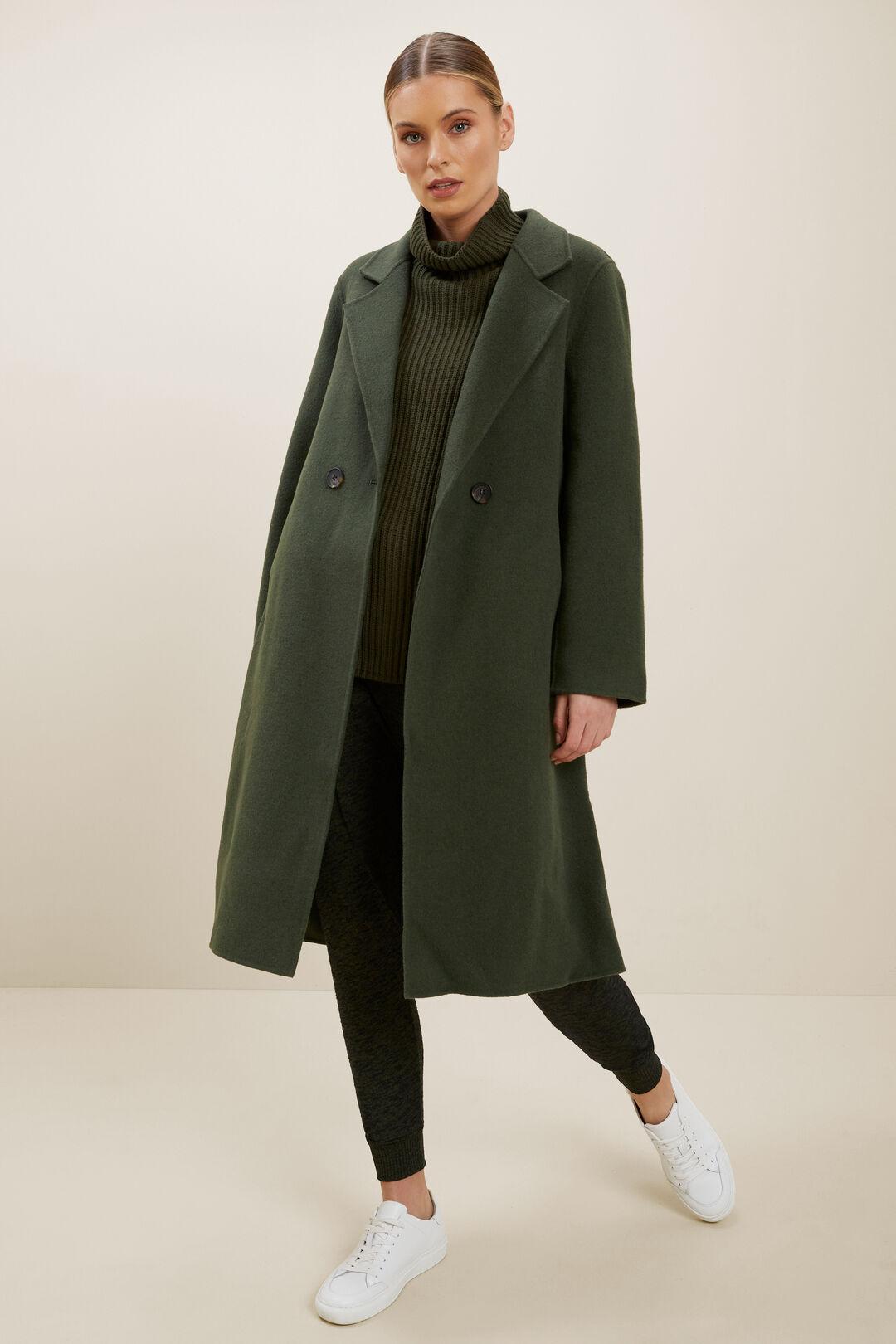 Wool Longline Coat  BASIL  hi-res