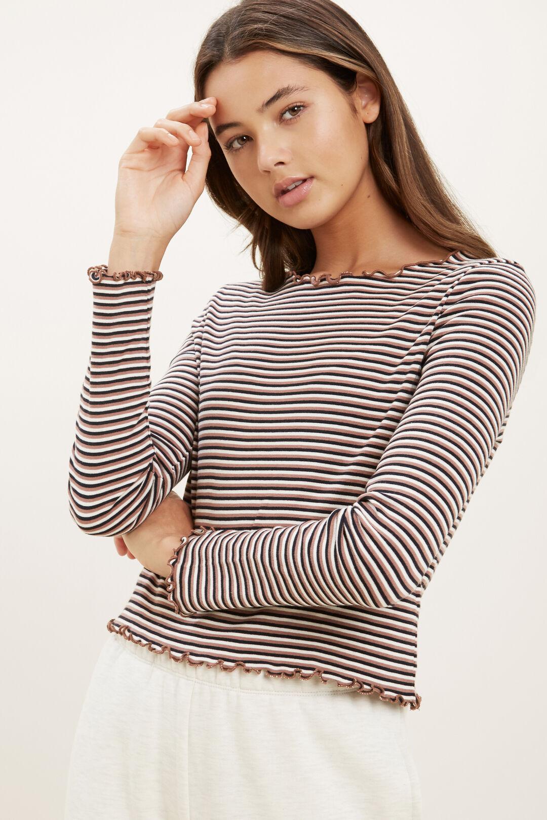 Stripe Rib Long Sleeve Tee  MULTI  hi-res