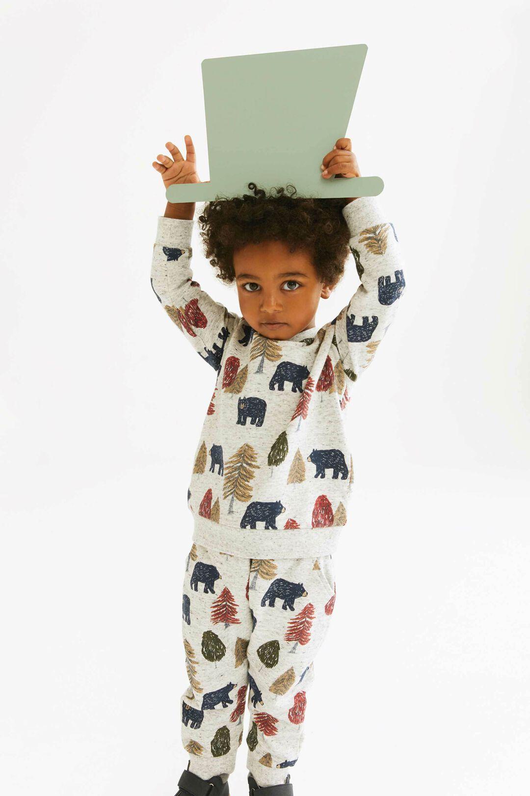 Bear Print Trackpant  CLOUDY MARLE  hi-res