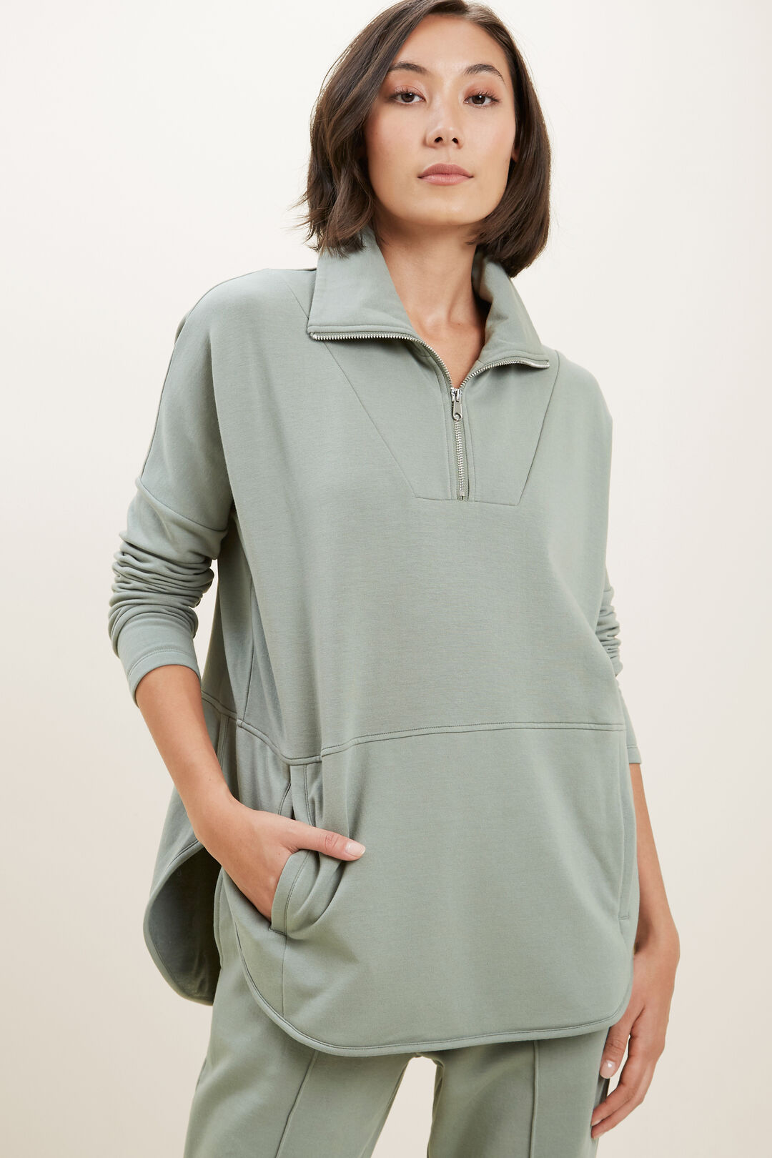 Collared Terry Sweater  DEEP PINE  hi-res