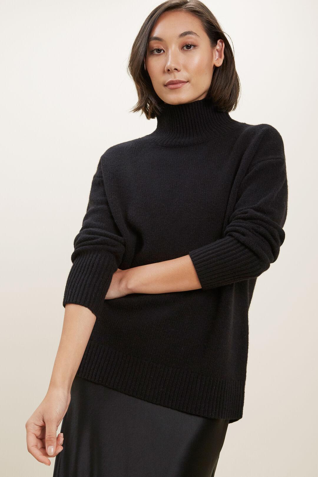 High Neck Wool Sweater  BLACK  hi-res