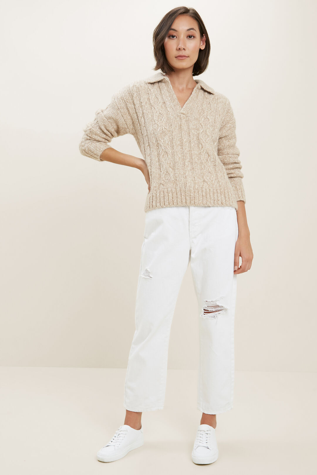 Cable Knit Polo Sweater  CHAMPAGNE BEIGE MARL  hi-res