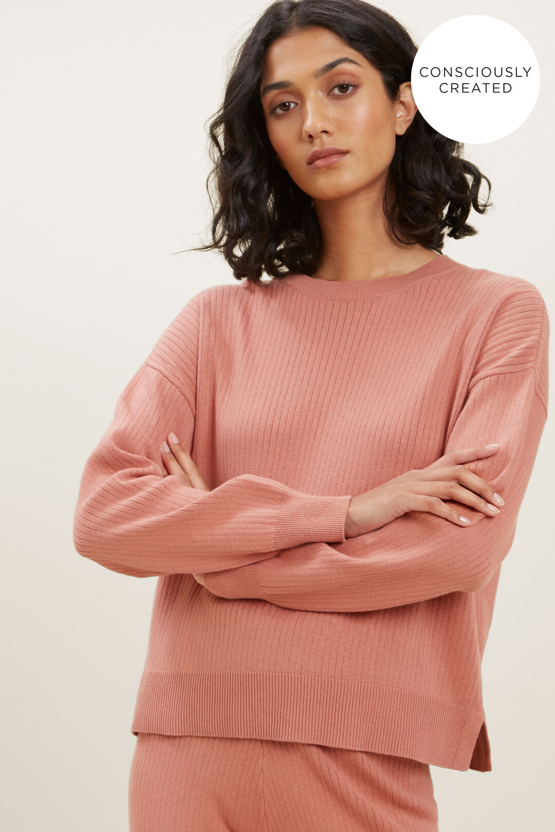 Sustainable Simple Sweater  OLD ROSE  hi-res