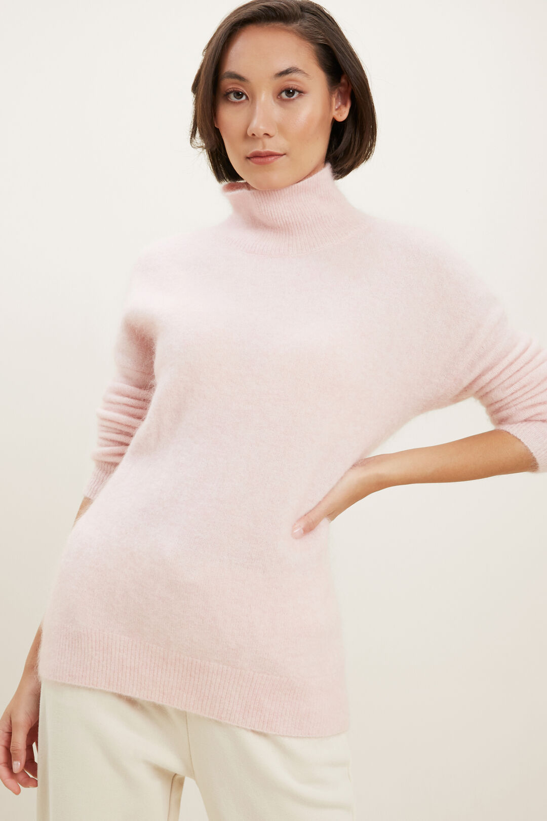 Mohair Roll Neck Sweater  ASH PINK MARLE  hi-res