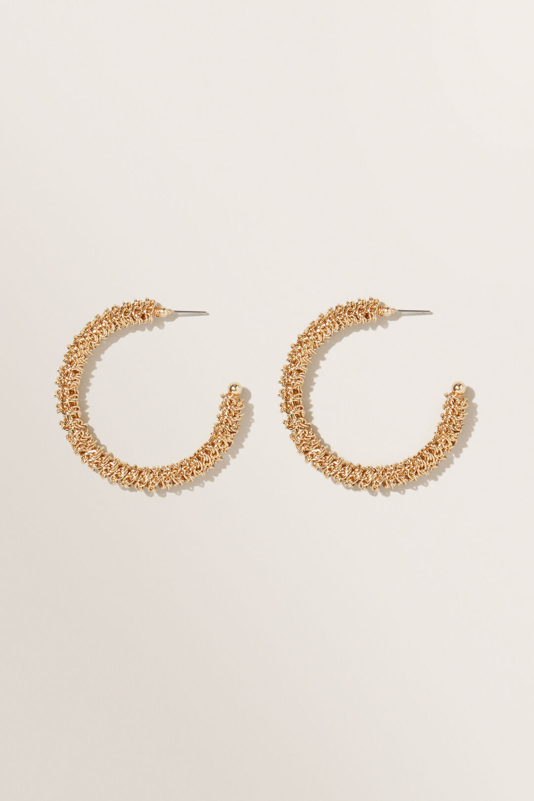 Twisted Chain Hoops  GOLD  hi-res
